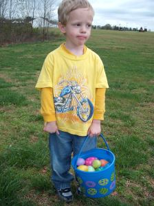 James has this egg hunting business down pat.